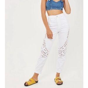 Topshop Eyelet Cutout Mom Jeans